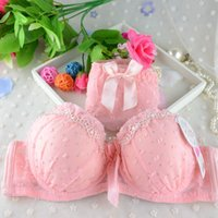 Women Lace Bowknot Push Up Bras Sets Dot Print Padded Bras Underwire Brassiere Bow Underwear Panties