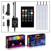 4 개 12V 자동차 실내 빛 RGB LED 스트립 음성 제어 / 원격 제어 USB 분위기는 화려한 자동차 장식 조명