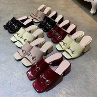 Hot Sale- Leather sexy Beach slippers Metal buckle Patent lea...