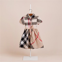 Nicely Summer girls cotton lapel Dress Baby Princess Lattice...