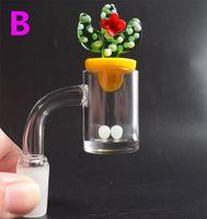 Kaktüs Carb Cap Terp İnci Topu İçin Cam Bongs Su Boruları Duck Renkli Cam UFO ile kısa Boynu 5mm Alt Kuvars Banger Tırnak