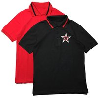 High Fashion Mens s One Star Embroidered Short Sleeve Turn Down Neck T Shirt Summer Chic Slim  Shirt Streetwear