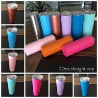 20z edelstahl dünn tumbler vakuum isoliert gerade cup bier kaffeetasse gläser mit deckel und strohhals 24 stücke