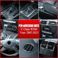 intérieur voiture en fibre de carbone autocollants Tableau de bord central de sortie d'air Cadre couverture de finition pour Mercedes-Benz classe C W204 2007-2013