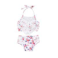 New Baby Girls Pizzo Costume da bagno Moda Flora Floral Bow ACQUA PACONDATORE Halter Kids Swimwear Summer Flower Bambini Spa Beach Beach Suit Suit Y2298
