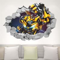 70x50cm 3D transformador del abejorro gigante desprendible de la pared de la etiqueta engomada de la decoración tridimensional Broken transformador de pared etiqueta de la pared
