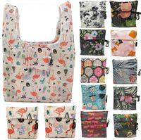 Yeniden kullanılabilir alışveriş çantası Çevre dostu katlanabilir tropikal çiçek taşımak bakkal taşıma çantaları