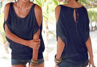 Verano mujeres Casual Camisetas manga corta suelta Color caramelo Batwing manga corta abierto frío hombro Top moda ropa camisetas