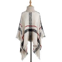 Borla Capa Chal 6 colores mujeres suéter de cuello alto de punto del poncho del cabo Bufanda Chales flojos L-LJJO7205