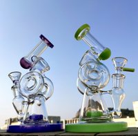 New Arrival 8 Inches Double Recycler Glass Bongs Slitted Don...