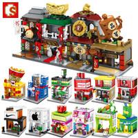 SEMBO Mini Street Store Store Blocks Симпатичные Микро Магазин Модель Книжный магазин Напитки Магазин Обучающие Детские Игрушки Кирпичи Детские подарки