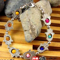 Tibet alloy Buddha's-hand Buddhism color  Amulet Bracelet S7028