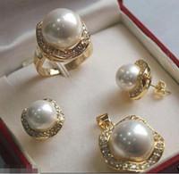 Prett Lovely Women's Wedding Sportelegant 10mm 14mm Vit South Sea Shell Pearl 18kgp Örhängen Hängsmycke Ring Set