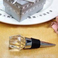 Boda 100pcs / LOT Material cristalino romántico del rosa blanco del tapón del vino de la botella por los regalos del banquete de eventos retorno envío gratuito