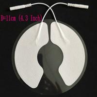 11cm Dezenas (4.3inch) adesivas Eletrodo Pads Bra não-tecidos com 2pcs Pin Cable 2 milímetros Massagem Terapêutica Conductive Gel