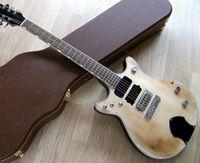 Salute Malcolm Young das Biest Doppel Jet ACDC Tribute Relic Natürliche SG E-Gitarre Wrap-Rund-Brücke, Grover-Tuner, Bischof-Pickguard