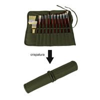 현대 롤업 캔버스 페인트 브러시 가방 가방 아티스트 드로잉 펜 수채화 오일 브러쉬 육군 녹색 학교 예술 용품 40 * 33cm