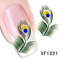 4PCS Nail Art Sticker Peacock Feather Fingernai Beauty Water...