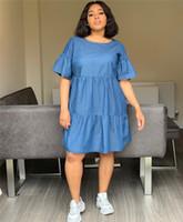 2019 Designer Mulher Verão Vestido Azul Casual estilo solto Hot linda gola Metade Vestidos Manga Womens Fashion Clothes