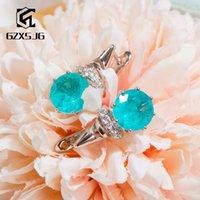 GZXSJG Paraíba Tourmaline pedras brincos clipe para Mulheres Sólidos 925 brincos de prata azul turmalina para o aniversário CJ191128