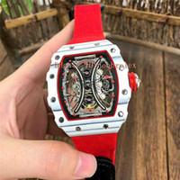 Top TPT fibra de carbono reloj RM53-01 reloj de cuerda de suspensión de la cuerda openworked mecánico automático antideslumbrante de cristal de zafiro reloj deportivo