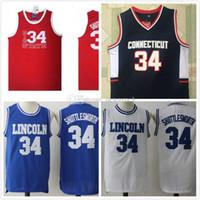 Yüksek Kaliteli Erkek İsa Shuttlesworth # 34 Lincoln Oyun Filmi Basketbol Jersey Mavi 100% Dikişli Basketbol Formaları Drop Shipping
