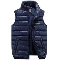 Güz Kış Artı Boyutları Ultra İnce Aşağı Pamuk Kirpi Yelek Ceket Mont Erkek Fermuar Yüksek Boyun Jile S Ceket ile Cepler S-6XL
