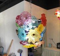 Flowing Flor Candelabro Estilo de Luz Murano Placas de Vidro Pingente Lâmpadas Multi-Color LED Blown Glass Chandelier Iluminação para sala de estar