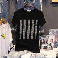 짧은 소매 t - 셔츠 여성 여름 옷 패션 드릴링 인쇄 느슨한 코 튼 바닥 셔츠 풀오버 여성 크기 S-3XL