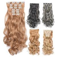 Синтетические клип в расширениях волос 6pcs / набор с 16 Клип Ins Длинные Волнистые Heat Resistant шиньон