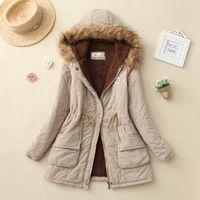 Kadınlar Kış Sıcak Ceket Kadın Sonbahar Kapüşonlu Pamuk Kürk Artı Boyutu Temel Ceket Giyim Ince Uzun Bayanlar chaqueta Kış Ceket Kadın Kürk
