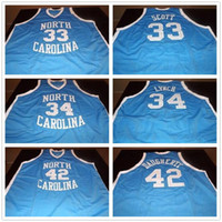 Kuzey Carolina Tar topuklu Koleji 33 Charlie Scott 34 George Lynch 42 Brad Daugherty Retro Basketbol Jersey Erkek Dikişli Özel Formalar