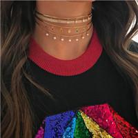 Toptan-Torklar kolye altın kaplama gökkuşağı renkli cz damla yuvarlak noktalar matal tel açık manşet yaka gerdanlık kolye