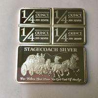 20 Pcs Não Magnético O Stagecoach bar bronze núcleo banhado a prata moeda 50mm x 28mm lingote lembrança decoração moeda