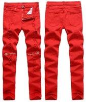 Erkek Kot 3 Renk Erkek Diz Delik Fermuar Elastik Slim-Fit Streç Uzun Denim Mavi Hip Hop Pantolon Kalem Pantolon1