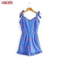 Tangada women heart print playsuits adjustable spaghetti str...