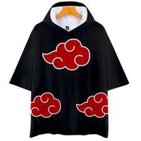 Homens camisetas Anime Naruto Akatsuki Cosplay Cosplay camiseta Homens Mulheres Criança Tshirt com CAPA Itachi Uchiha Traje Curto Manga De Manga Com Capuz Roupa