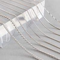 Hohe Qualität S925 Sterling Silber Schlangenketten Halskette Box Kette 1-2 MM Karabiner Kette 18 25 Zoll Zubehör Modeschmuck