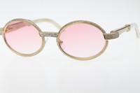 2020 Sıcak Ücretsiz Kargo Buffalo Horn Beyaz Hakiki Doğal Gözlükler 7550178 Daha küçük Big Taşlar Güneş gözlüğü Yuvarlak Unisex Vintage Gözlük Sıcak