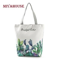 Miyahouse New Fresh Women Canvas Tote Bags Green Cactus Prin...