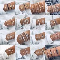 Conjuntos de pulseras de estilo bohemio para mujeres Mapa de conchas de mar Tortuga piña Corazón loto Encanto de luna Cadenas de cuentas de piedra natural Brazalete Joyería de Boho