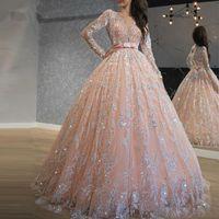 Pırıltılı Pembe payetli Dantel Balo Gelinlik Modelleri mücevher Yaka Uzun Kollu Sweet 16 Elbise Uzun Quinceanera Elbise elbise de soiree
