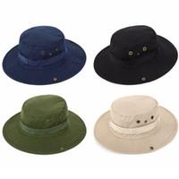 في الهواء الطلق الصيد ظلة قبعة عارضة التخييم واسعة حافة قبعة الشمس أزياء الرجال السفر الغربية كاوبوي دلو القبعات TTA1581