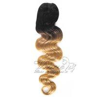 Virgin brasileira Rabo Humano cutícula Alinhados # 1B / # 27 Two Tone Preto Loiro Ombre cores 120g Long Wave Corpo Clipe cordão extensão do cabelo