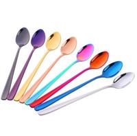 304 Нержавеющая Сталь Мороженое Совок Вакуумный Титановое Покрытие Красочные Мороженое Совок Длинная Ручка Смешивания Ложка 6588