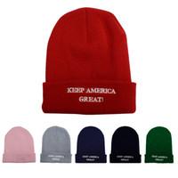 Gorro de lana trump de punto de los hombres de las mujeres impresión de la letra Keep America gran gorro de punto gorro de invierno cálido Cap LJJA2668