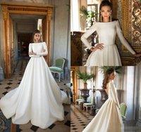 밀라 노바 새틴 웨딩 드레스 A 라인 등이없는 스윕 기차 긴 소매 웨딩 드레스 BATEAU 목 겨울 가을 신부 드레스 플러스 사이즈 98
