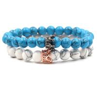 Luxus Hohe Qualität Micro Pave CZ Zirkonia Crown Charm Armband Männer Frauen Tigerauge weiß türkis Perle Armband Handgemachten Schmuck