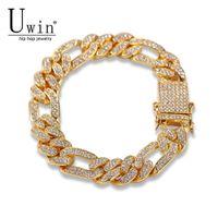 UWIN Figaro Link Bractelet 13 мм кубинского замороженного ронсуков мода хип-хоп панк стиль золото серебристые мужчины женщины ювелирные изделия падение