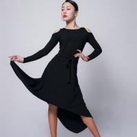 무대 착용 도착 라틴 댄스 드레스 여자 레이디 섹시 불규칙한 긴 소매 볼룸 DL5185 춤을위한 플라멩고 살사 드레스